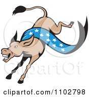 Clipart Democratic Donkey Kicking With A Blue Star Banner Royalty Free Vector Illustration by patrimonio