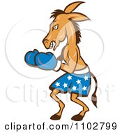 Clipart Democratic Donkey Boxer With Blue Star Shorts Royalty Free Vector Illustration
