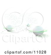 White Planets With Rings On A Circuit Board Clipart Illustration