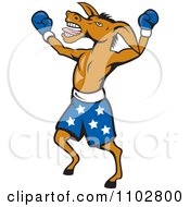 Clipart Democratic Donkey Boxer With Blue Starry Shorts Royalty Free Vector Illustration
