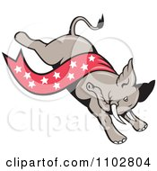Clipart Republican Elephant Running With A Star Banner Royalty Free Vector Illustration