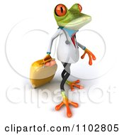 Clipart 3d Doctor Springer Frog Pulling Rolling Luggage 2 Royalty Free CGI Illustration