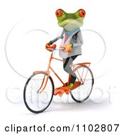 Clipart 3d Doctor Springer Frog Exercising On A Bicycle 2 Royalty Free CGI Illustration
