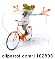 Clipart 3d Doctor Springer Frog Exercising On A Bicycle With No Hands Royalty Free CGI Illustration