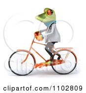 Clipart 3d Doctor Springer Frog Exercising On A Bicycle 1 Royalty Free CGI Illustration