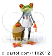 Clipart 3d Doctor Springer Frog Pulling Rolling Luggage 1 Royalty Free CGI Illustration