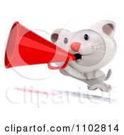 Clipart 3d Cute Happy White Kitten Running With A Megaphone Royalty Free CGI Illustration