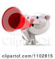 Clipart 3d Cute Happy White Kitten Using A Megaphone Royalty Free CGI Illustration