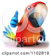 Clipart 3d Macaw Parrot Holding A Thumb Up 1 Royalty Free CGI Illustration