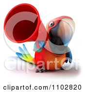Clipart 3d Macaw Parrot Using A Megaphone 2 Royalty Free CGI Illustration
