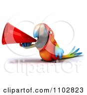 Clipart 3d Macaw Parrot Using A Megaphone 1 Royalty Free CGI Illustration