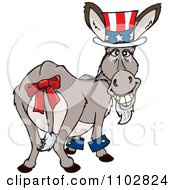 Clipart Patriotic Uncle Sam Independence Day Or Tax Time Donkey Looking Back Royalty Free Vector Illustration by Dennis Holmes Designs