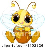 Clipart Cute Bee Tasting Honey Royalty Free Vector Illustration by Pushkin