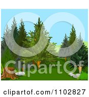 Clipart Woods Background With A Tree Stump Royalty Free Vector Illustration by Pushkin
