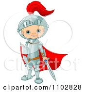 Clipart Happy Knight Boy With A Red Cape Sword And Shield Royalty Free Vector Illustration by Pushkin