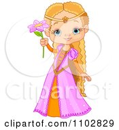 Clipart Happy Fairy Tale Princess With Long Hair Holding A Pink Flower Royalty Free Vector Illustration