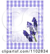 Clipart 3d Lavender Flowers Over Purple Flares With Gingham Edges Royalty Free Vector Illustration by elaineitalia