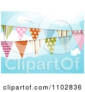 Clipart Patterned Bunting Flags Against A Cloudy Sky Royalty Free Vector Illustration