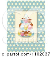 Clipart Cupcakes On A Stand Over Blue And Beige Polka Dots Royalty Free Vector Illustration