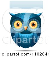 Clipart Talking Blue Owl With A Word Balloon Royalty Free Vector Illustration