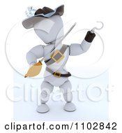 Clipart 3d White Character Pirate With A Hook Hand And Sword Royalty Free CGI Illustration