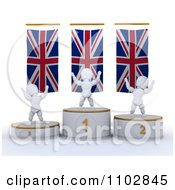 Clipart 3d Champion White Characters On First Place And Runner Up Podiums Under British Flags Royalty Free CGI Illustration