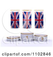 Clipart 3d Champion First Place And Runner Up Podiums Under British Flags Royalty Free CGI Illustration by KJ Pargeter