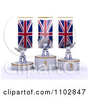 Clipart 3d Champion Robots On First Place And Runner Up Podiums Under British Flags Royalty Free CGI Illustration by KJ Pargeter