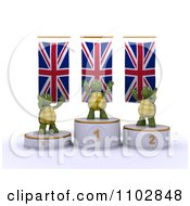 Clipart 3d Champion Tortoises On First Place And Runner Up Podiums Under British Flags Royalty Free CGI Illustration