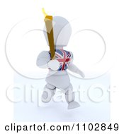3d British White Character Running With The Olympic Torch