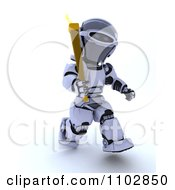 Clipart 3d Robot Running With An Olympic Torch Royalty Free CGI Illustration