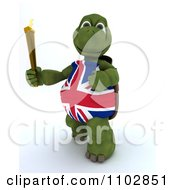 Clipart 3d British Tortoise Running With The Olympic Torch Royalty Free CGI Illustration