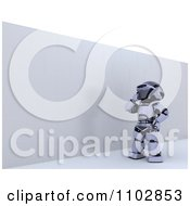 Clipart 3d Robot At A Wall Obstacle Royalty Free CGI Illustration by KJ Pargeter