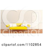Clipart 3d Yellow Modern Sofa With White Pillows By A Closed Door Royalty Free CGI Illustration by KJ Pargeter