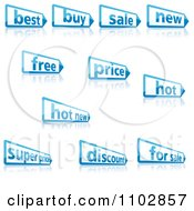 Clipart Blue Retail Pencil Shaped Labels And Reflections Royalty Free Vector Illustration by dero