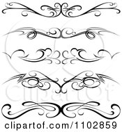 Clipart Black Tribal Tramp Stamp Tattoos Or Rule Border Design Elements Royalty Free Vector Illustration by dero
