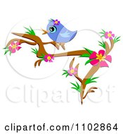 Clipart Happy Bluebird On A Hibiscus Branch Royalty Free Vector Illustration by bpearth