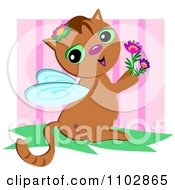 Cute Winged Cat Holding Flowers Over Pink Stripes