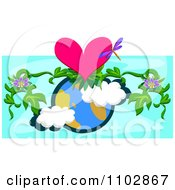 Floral Vine Dragonfly And Heart Over Earth On Blue
