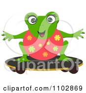 Happy Frog On A Skateboard