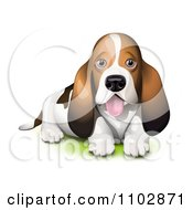 Clipart Panting Basset Hound Puppy Royalty Free Vector Illustration by Oligo