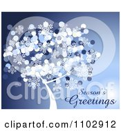 Clipart Seasons Greetings With A Christmas Tree And Snowflakes On Blue Royalty Free Vector Illustration