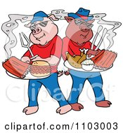 Clipart Cool Bbq Pigs With Ribs Pulled Pork Burgers And Poultry Royalty Free Vector Illustration