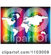Clipart White World Atlas Map Over Rainbow Stripes Royalty Free Vector Illustration by Andrei Marincas
