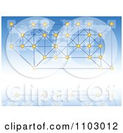 Clipart Communications Background Of Networked Dots Over A Map On Blue Royalty Free Vector Illustration