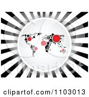 Clipart Dot Map Circle Over Black And White Rays Royalty Free Vector Illustration