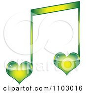 Clipart Two Green Heart Love Music Notes Royalty Free Vector Illustration by Andrei Marincas