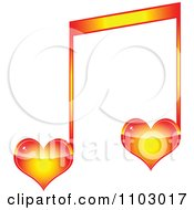 Clipart Two Heart Love Music Notes Royalty Free Vector Illustration