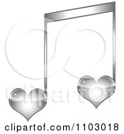 Clipart Two Silver Heart Love Music Notes Royalty Free Vector Illustration