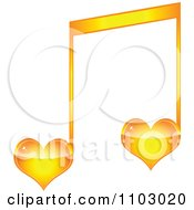 Clipart Two Orange Heart Love Music Notes Royalty Free Vector Illustration